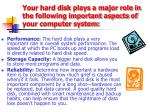 your hard disk plays a major role in the following important aspects of your computer system