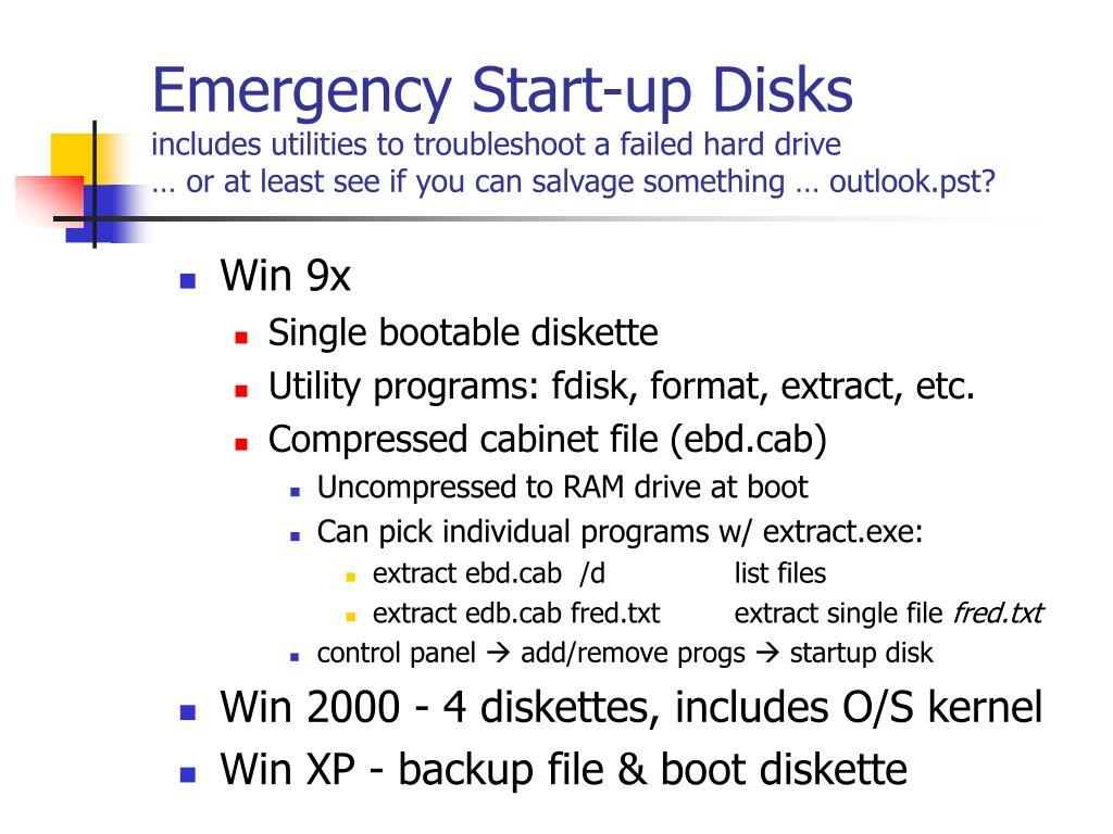 Emergency Start-up Disks