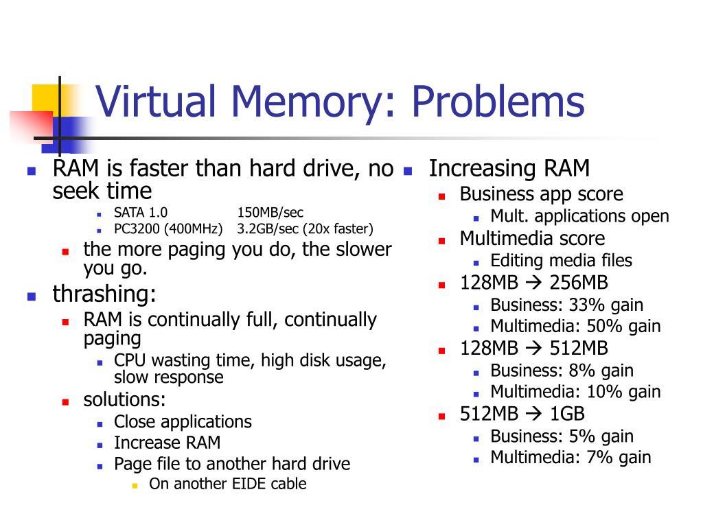 RAM is faster than hard drive, no seek time