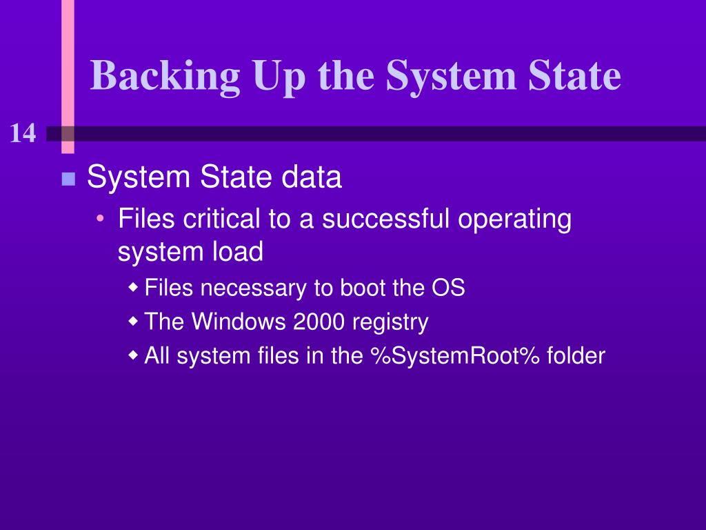 Backing Up the System State
