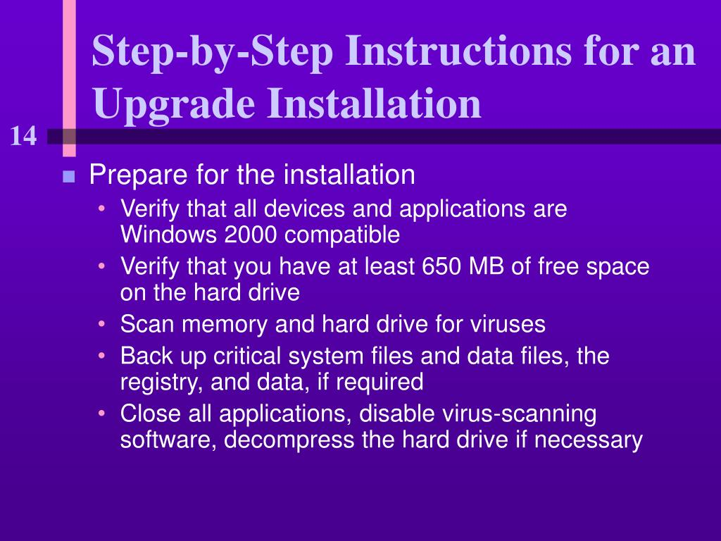 step by step instructions for an upgrade installation l.