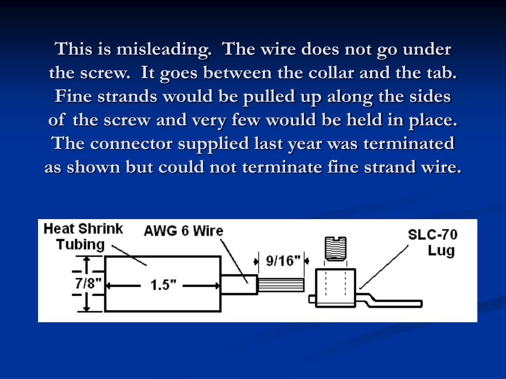 This is misleading.  The wire does not go under the screw.  It goes between the collar and the tab. Fine strands would be pulled up along the sides of the screw and very few would be held in place. The connector supplied last year was terminated as shown but could not terminate fine strand wire.