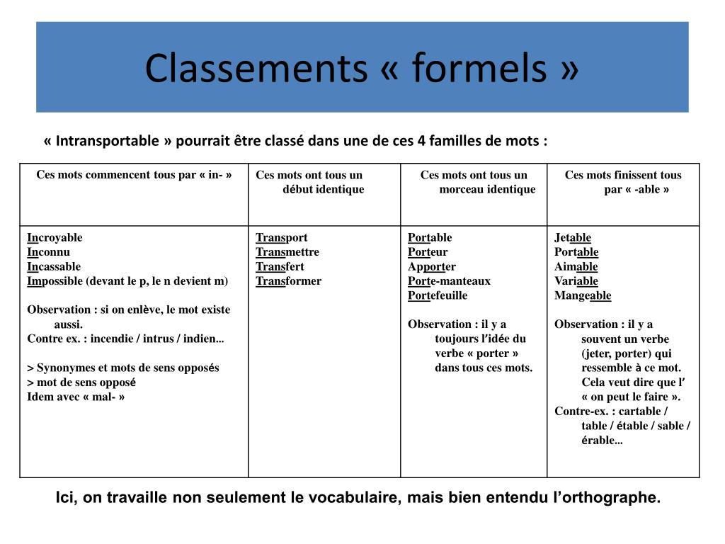 Classements «formels»
