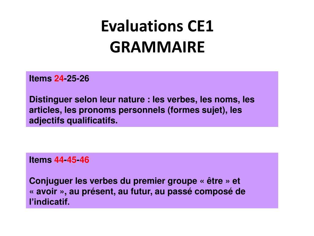 Evaluations CE1