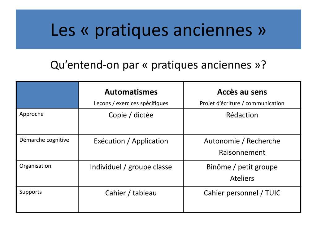 Les «pratiques anciennes»