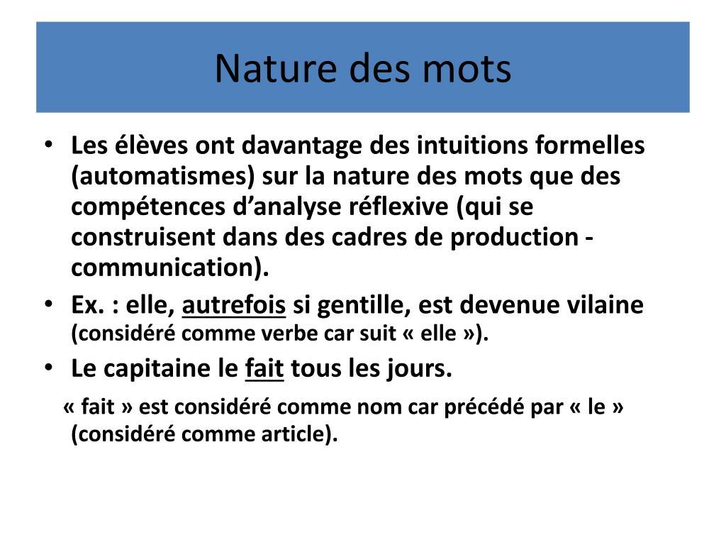 Nature des mots