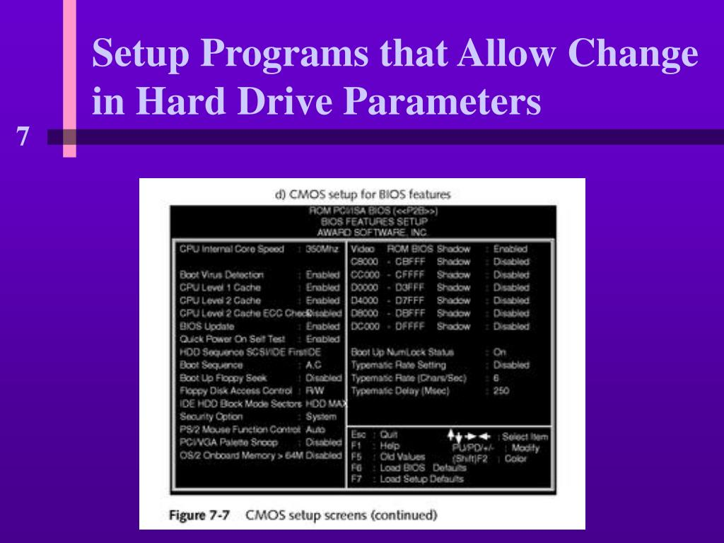 Setup Programs that Allow Change in Hard Drive Parameters