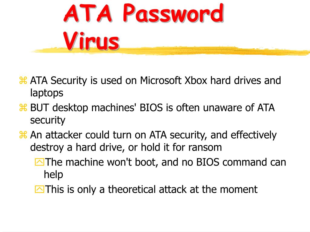 ATA Password Virus