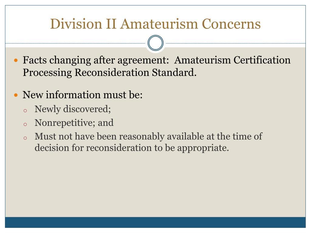 Division II Amateurism Concerns
