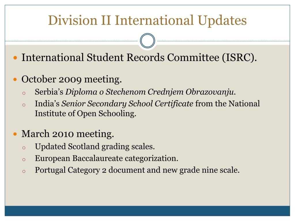Division II International Updates