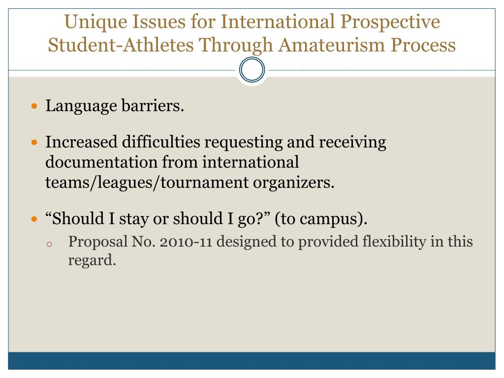 Unique Issues for International Prospective