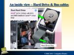 an inside view hard drive bus cables
