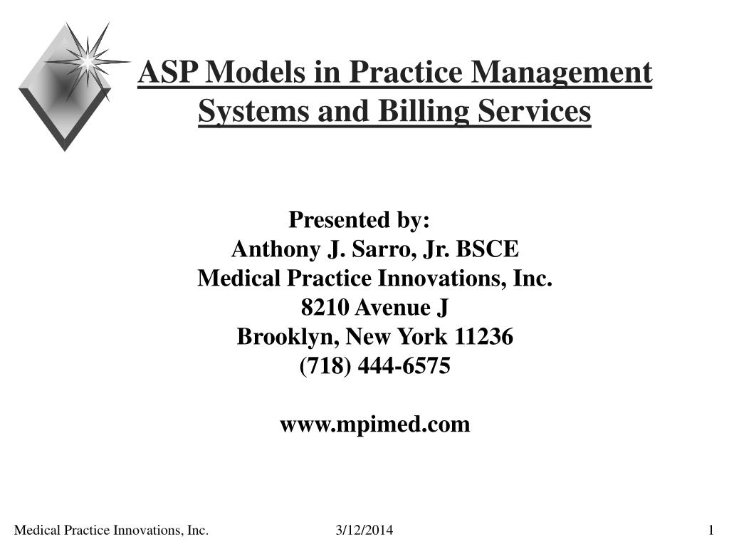 asp models in practice management systems and billing services l.