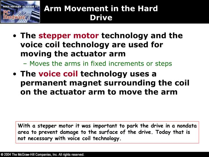 Arm Movement in the Hard Drive
