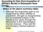 accounting for gain from acquisition of affiliate s bonds in subsequent years contd152