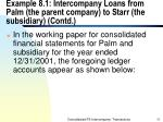 example 8 1 intercompany loans from palm the parent company to starr the subsidiary contd11