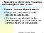 i accounting for intercompany transactions not involving profit gain or loss
