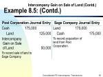 intercompany gain on sale of land contd example 8 5 contd