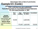 intercompany gain on sale of land contd example 8 5 contd67