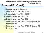 intercompany lease of property under capital sale type lease contd example 8 6 contd104