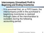 intercompany unrealized profit in beginning and ending inventories
