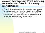 issues in intercompany profit in ending inventories and amount of minority interest contd57