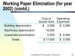 working paper elimination for year 2002 contd190
