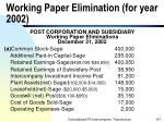 working paper elimination for year 2002