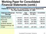 working paper for consolidated financial statements contd