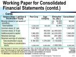 working paper for consolidated financial statements contd171