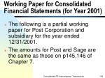 working paper for consolidated financial statements for year 2001