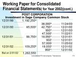 working paper for consolidated financial statements for year 2002 cont