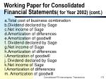 working paper for consolidated financial statements for year 2002 cont175