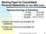 working paper for consolidated financial statements for year 2002 cont178
