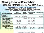 working paper for consolidated financial statements for year 2002 cont182