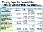 working paper for consolidated financial statements for year 2002 cont183