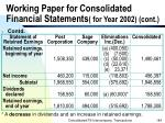 working paper for consolidated financial statements for year 2002 cont184