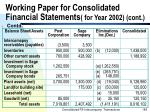 working paper for consolidated financial statements for year 2002 cont185