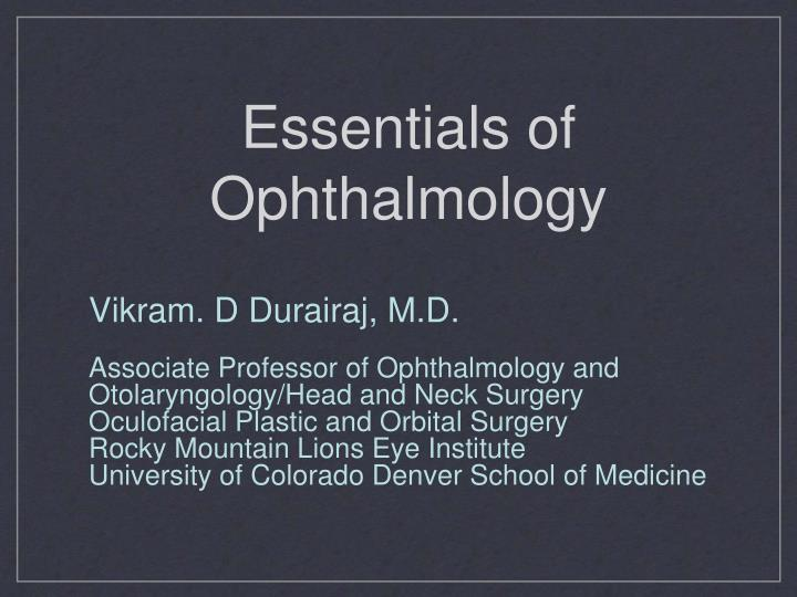 essentials of ophthalmology n.