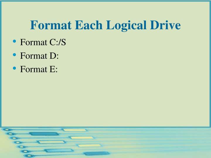 Format Each Logical Drive