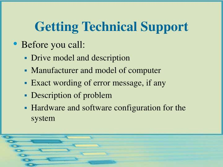 Getting Technical Support