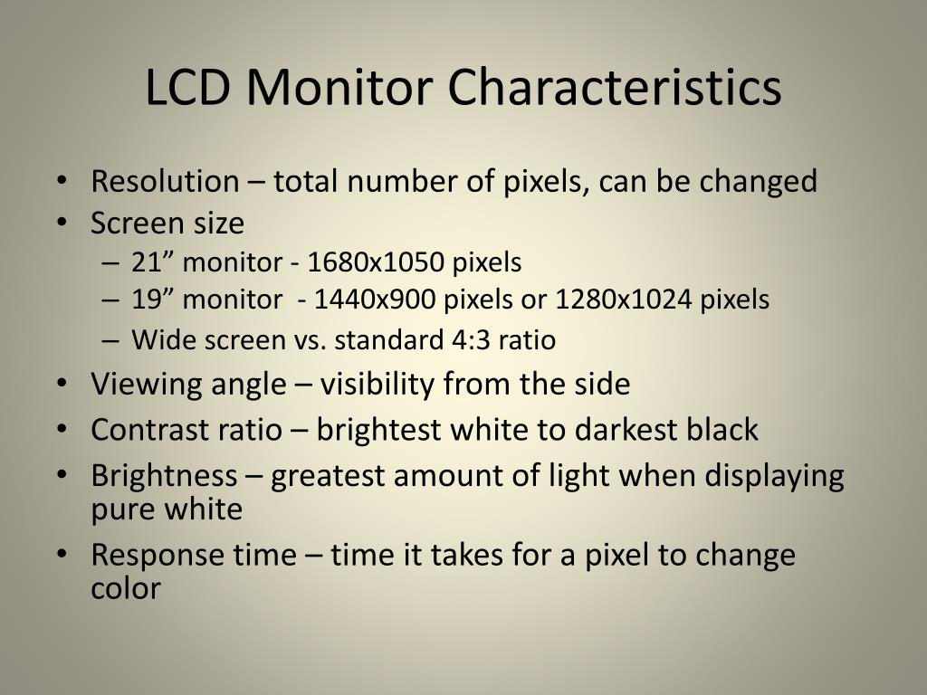 LCD Monitor Characteristics