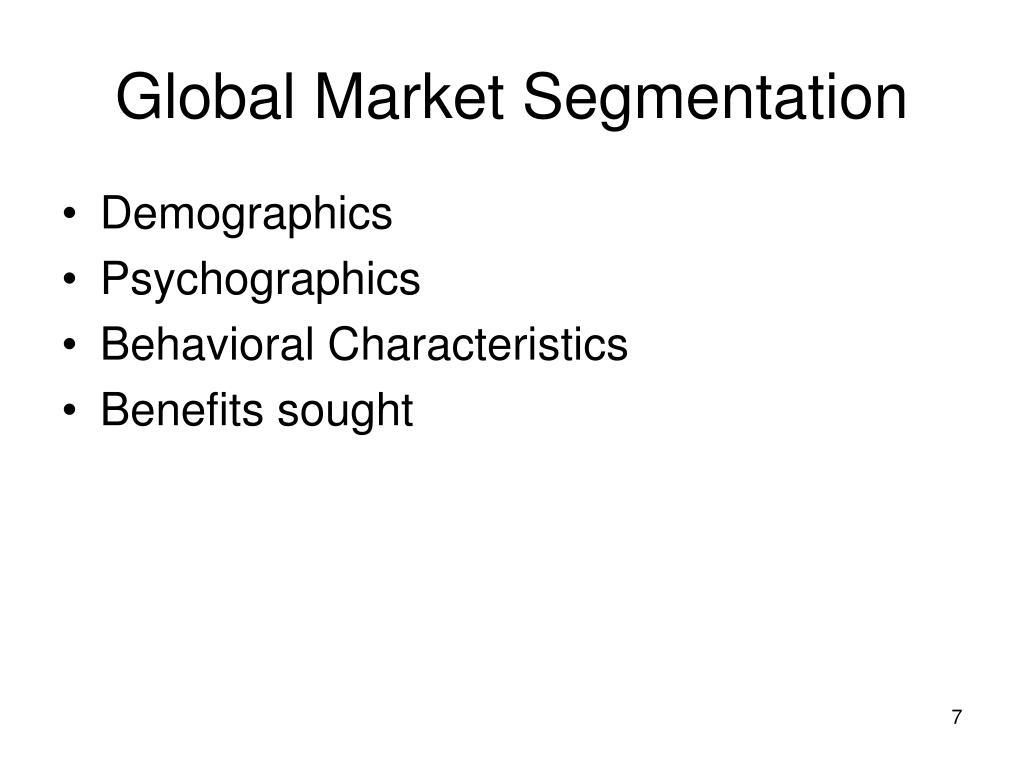 Global Market Segmentation