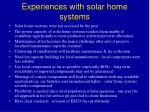 experiences with solar home systems