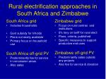 rural electrification approaches in south africa and zimbabwe