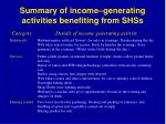 summary of income generating activities benefiting from shss