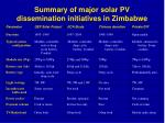 summary of major solar pv dissemination initiatives in zimbabwe