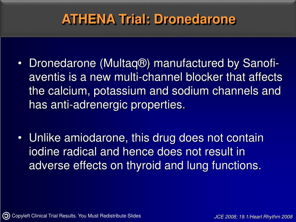 Dronedarone (Multaq®) manufactured by Sanofi-aventis is a new multi-channel blocker that affects the calcium, potassium and sodium channels and has anti-adrenergic properties.