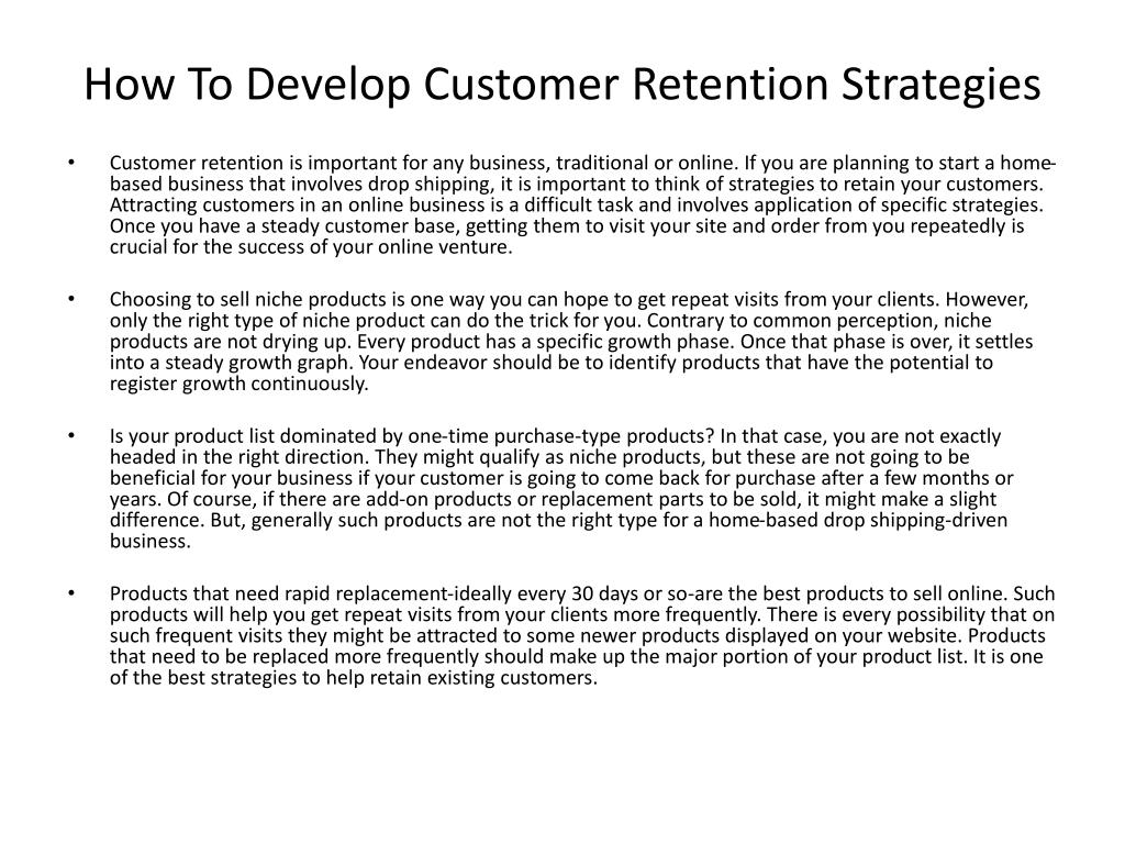 how to develop customer retention strategies l.