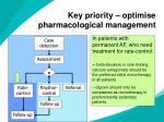 key priority optimise pharmacological management